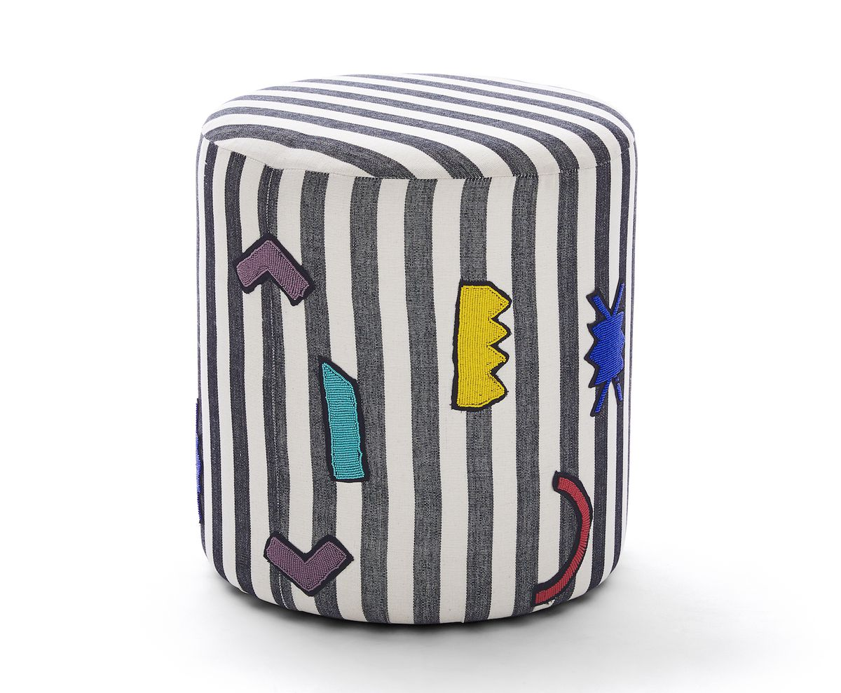 Ottoman with striped pattern