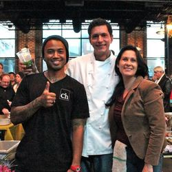 Chef Matt Selby of Corner House with his wife, Gina, and Gerard Collier of Corner House