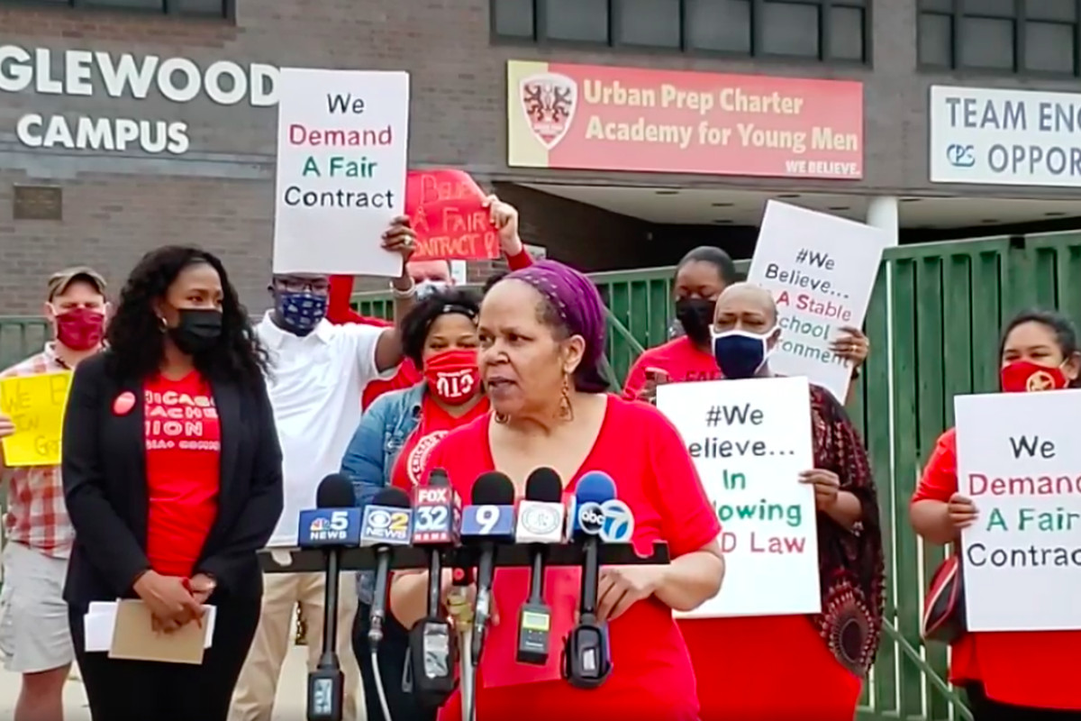 Shelley Aaron, a special education teacher at Urban Prep Englewood, speaks on the first day of a strike of educators at the three-campus charter network.
