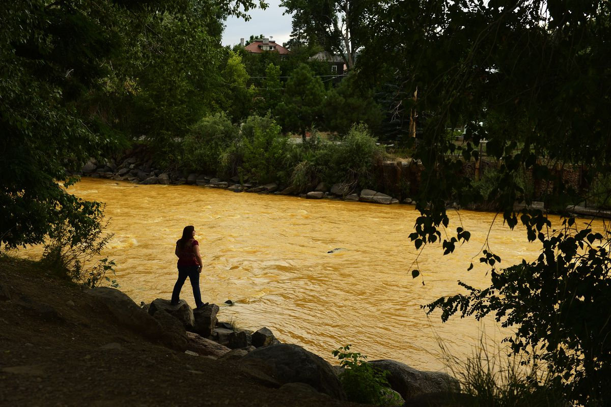 Over a million gallons of mine wastewater have made their way into the Animas River. Photo taken August 6, 2015.
