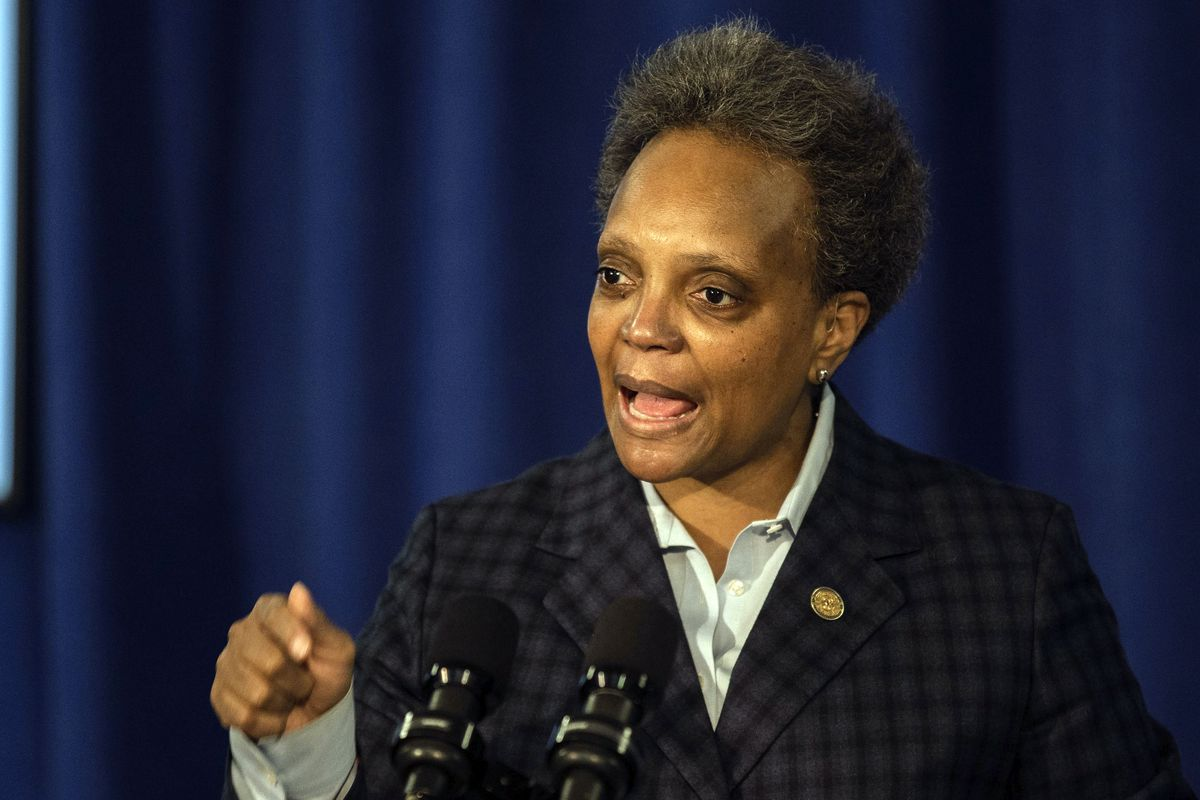 Chicago Mayor Lori Lightfoot speaks during a press conference at City Hall, Thursday morning, Feb. 4, 2021, in Chicago.