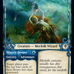 Merfolk Secretkeeper, from <em>Throne of Eldraine</em>.
