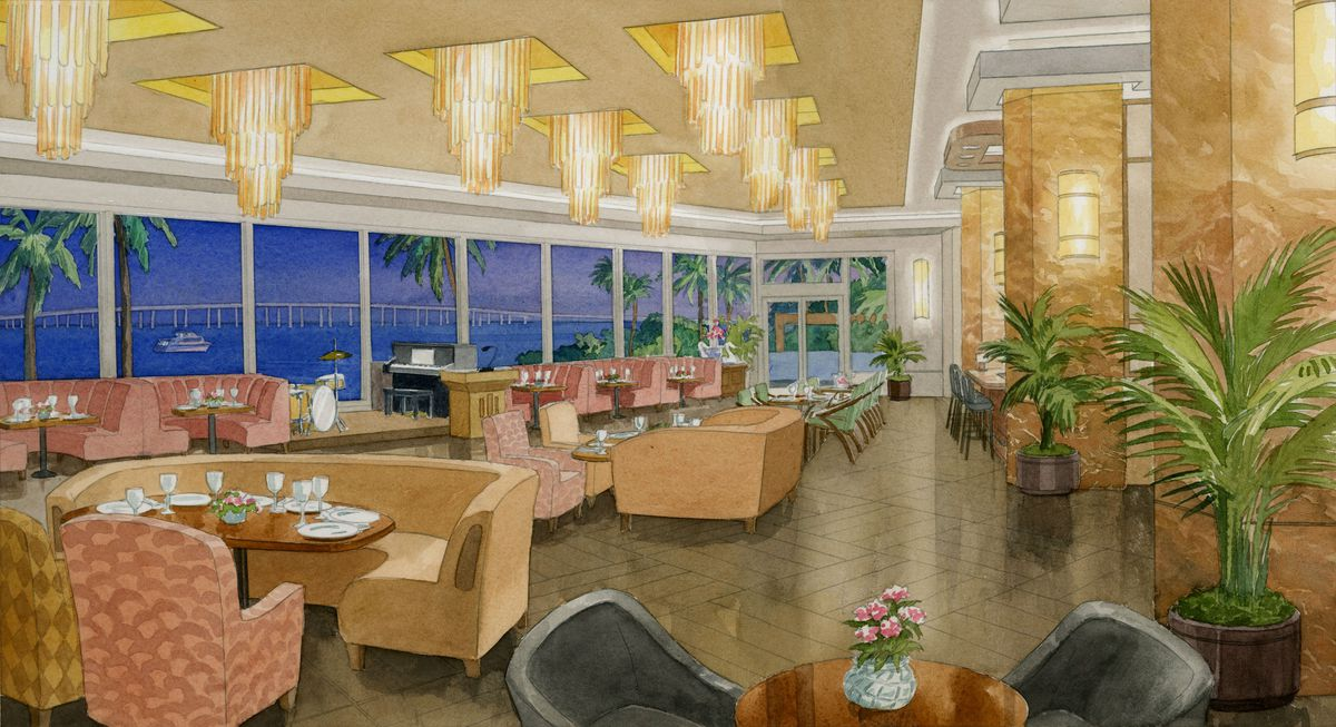 drawing of a dining room with chandeliers, banquettes, palm trees, Art Deco touches