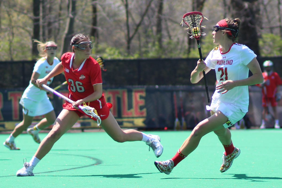Senior midfielder Taylor Cummings (right) is one of Maryland's five 2015-2016 IWLCA All-Americans