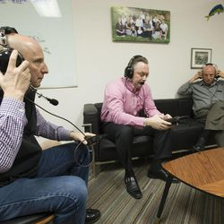 David Politis, Todd Rapier and Ron Fraser of Multi-Voice in Provo talk Tuesday, Jan. 13, 2015, about a new technology that allows multiple users to communicate via walkie-talkie.