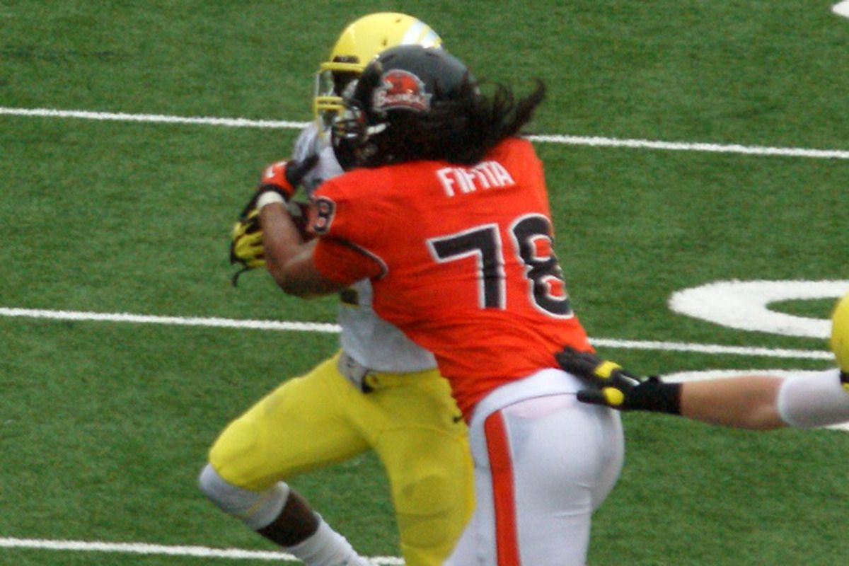 Rudolph Fifita is the highest profile of the 3 Oregon St. players arrested after a brawl in a Corvallis bar early Saturday morning.
