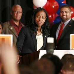 Mia Love, U.S. congresswoman-elect, speaks at Hilton Salt Lake City Center on Tuesday, Nov. 4, 2014, in Salt Lake City.