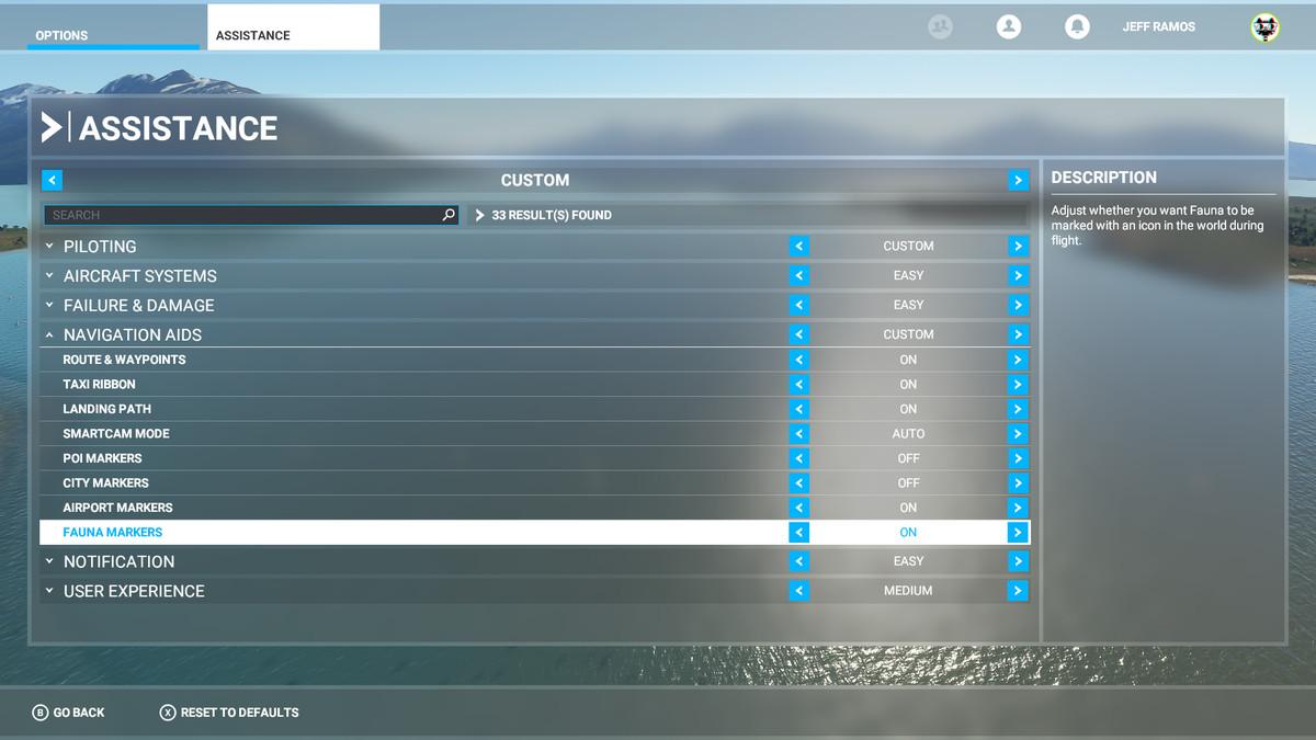 Highlighting Fauna Markers in Microsoft Flight Simulator's Assistance menu