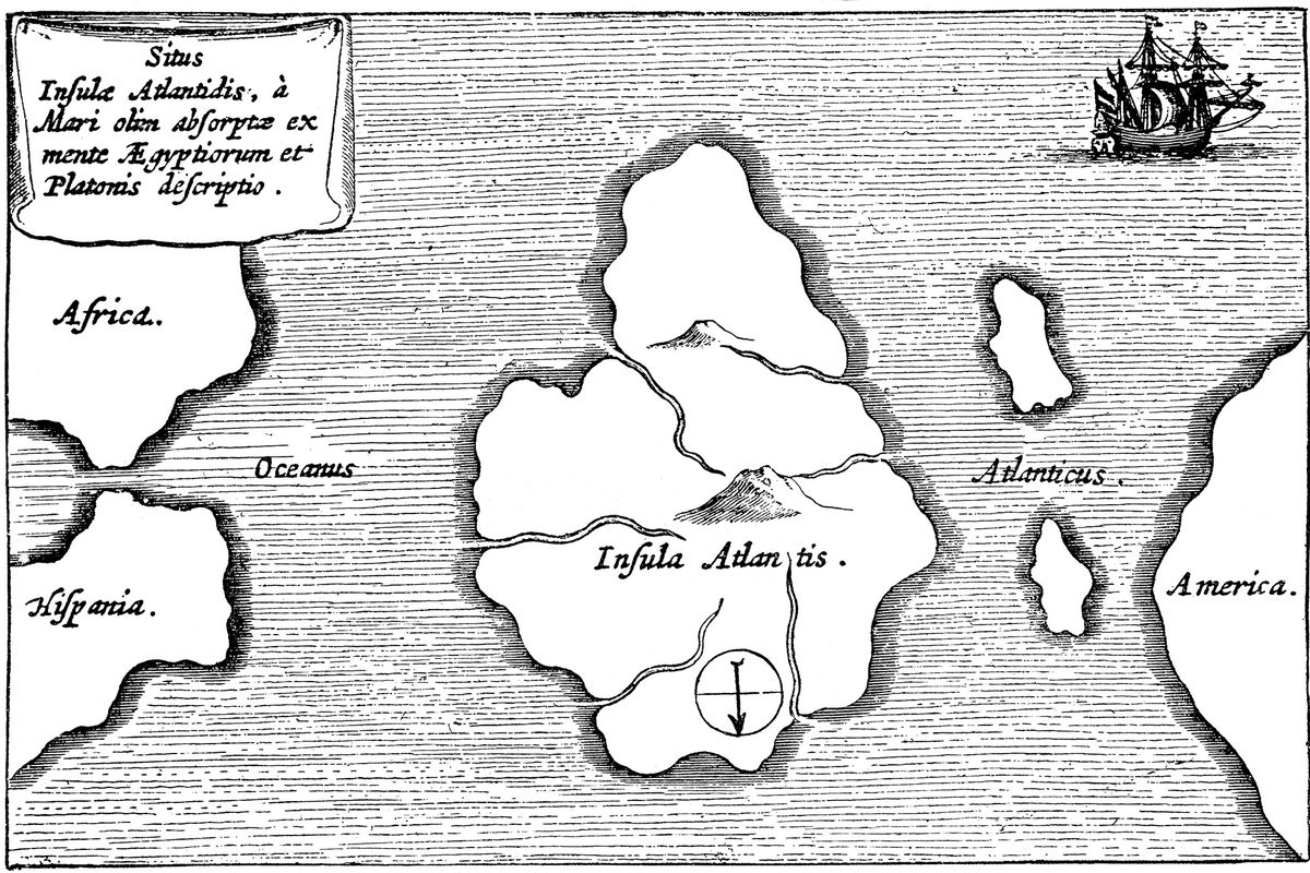 Atlantis as imagined by Athanasius Kircher in 1664.