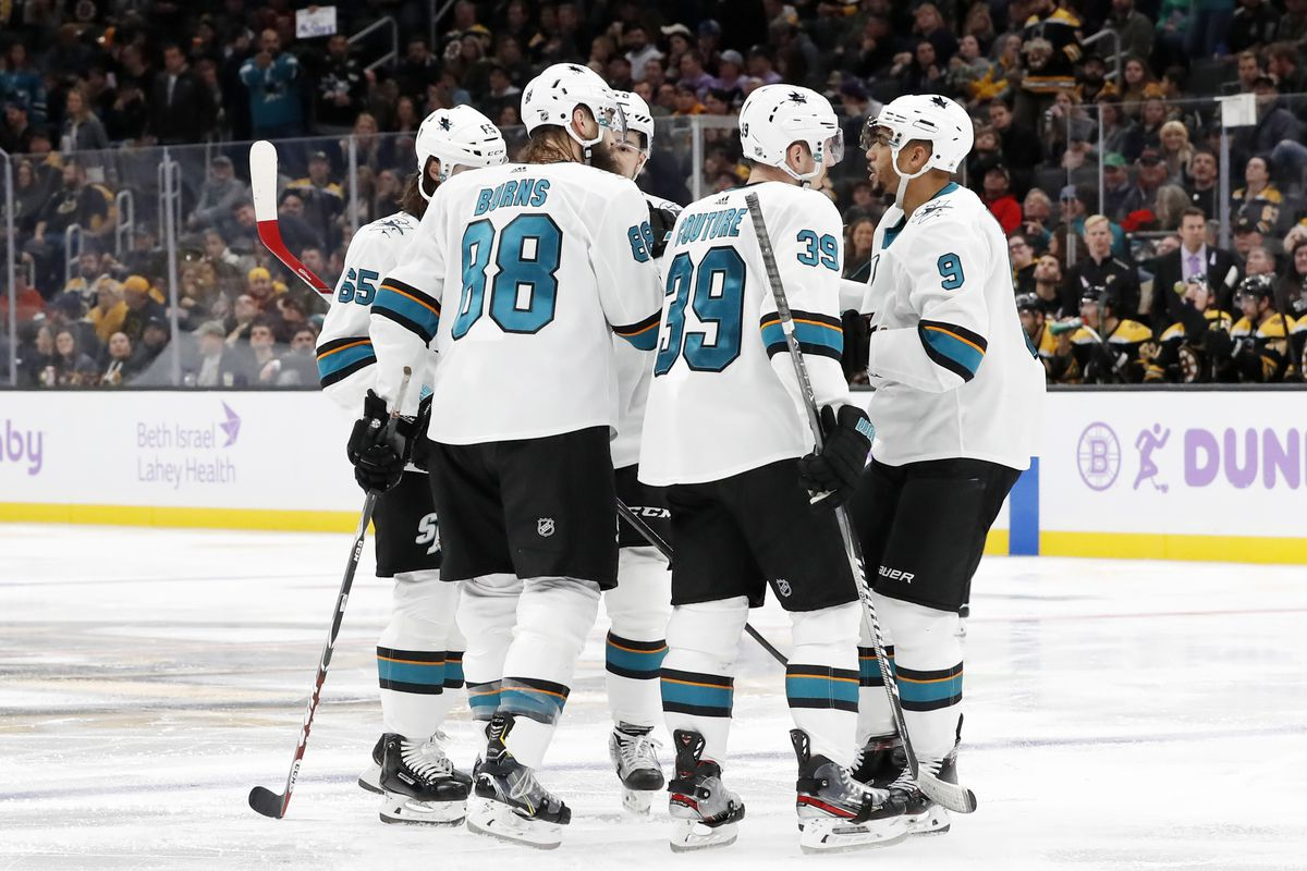 San Jose celebrates the goal from San Jose Sharks defenseman Brent Burns (88) during a game between the Boston Bruins and the San Jose Sharks on October 29, 2019, at TD Garden in Boston, Massachusetts.