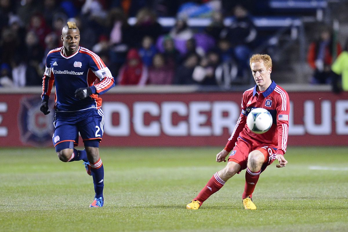 The mental play of Jeff Larentowicz will go a long way to determining how the Fire play on Saturday - can they track New England's many runners in midfield?