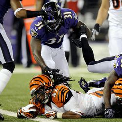 Cincinnati Bengals running back BenJarvus Green-Ellis (42) falls into the end zone for a touchdown in the first half of an NFL football game against the Baltimore Ravens in Baltimore, Monday, Sept. 10, 2012.