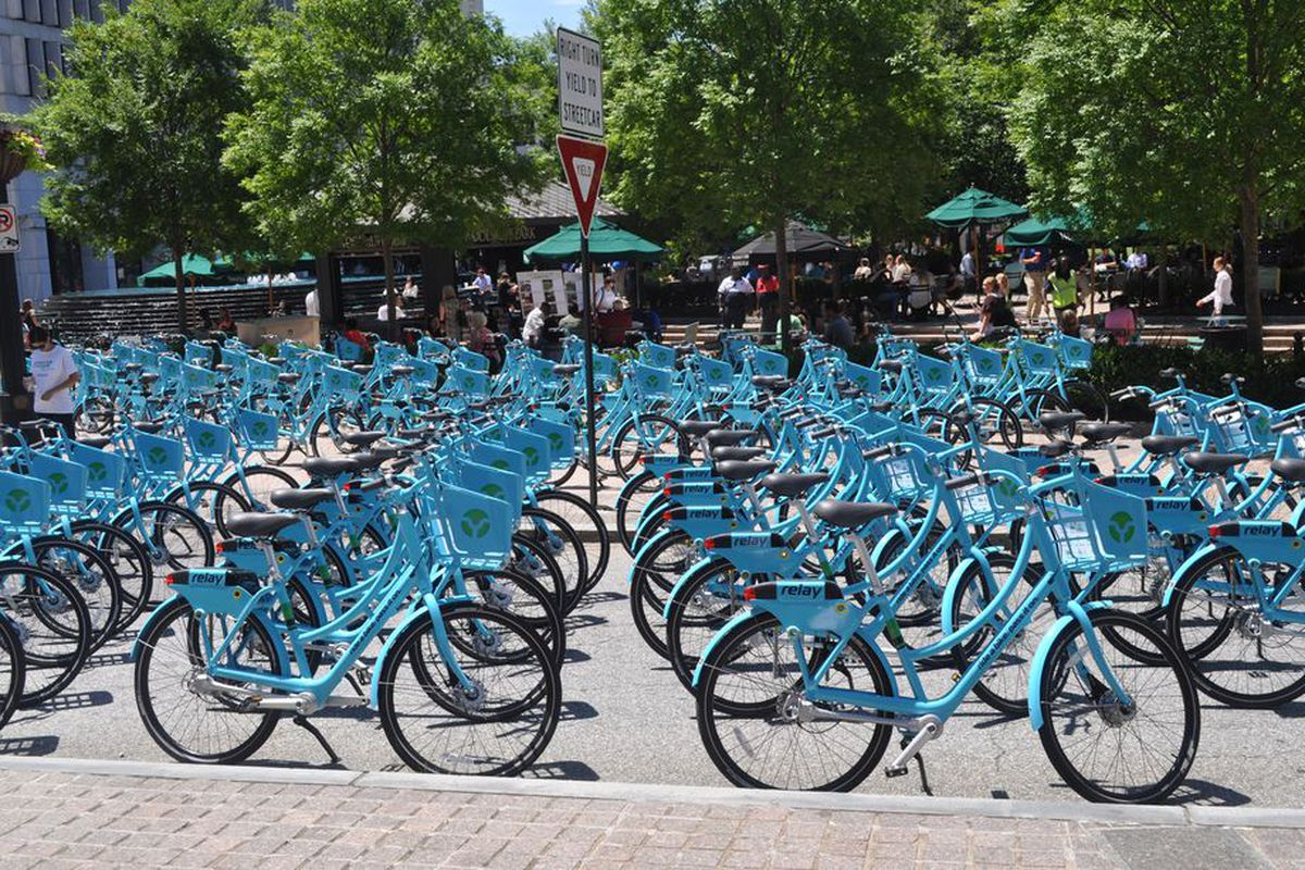 Bike share bikes in downtown Atlanta during a launch last summer.