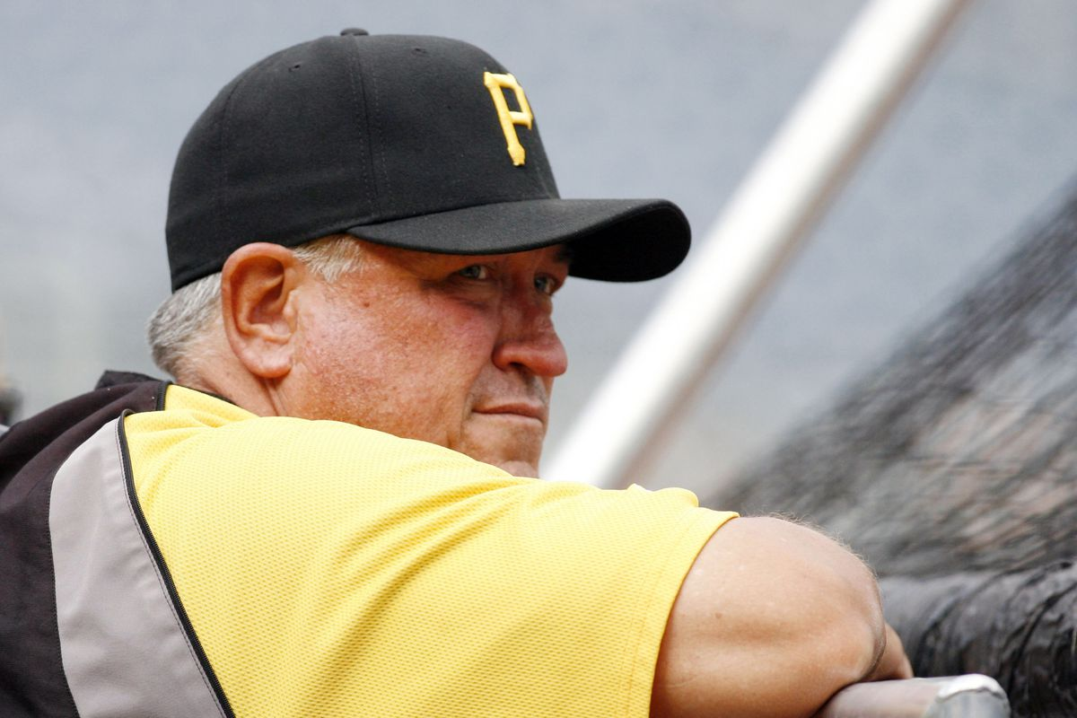 September 8, 2012; Pittsburgh, PA, USA; Pittsburgh Pirates manager Clint Hurdle (13) observes batting practice before playing the Chicago Cubs at PNC Park. Mandatory Credit: Charles LeClaire-US PRESSWIRE