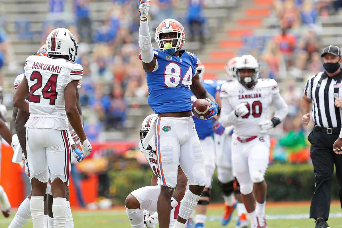 Gators tight end Kyle Pitts signals a first down after making a catch during a game against South Carolina at Ben Hill Griffin Stadium.
