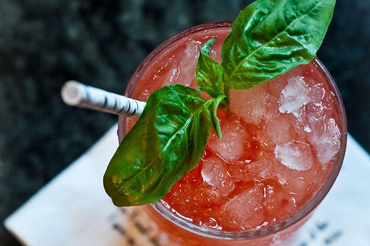 Chris Hannah's Strawberry Basil Bourbon Smash.