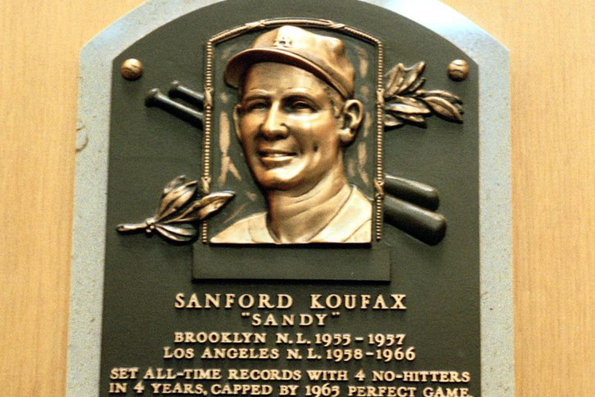 The plaque dedicated to Sanford 'Sandy' Koufax at the Baseball Hall of Fame in Cooperstown, New York. Credit: Ezra O. Shaw /Allsport