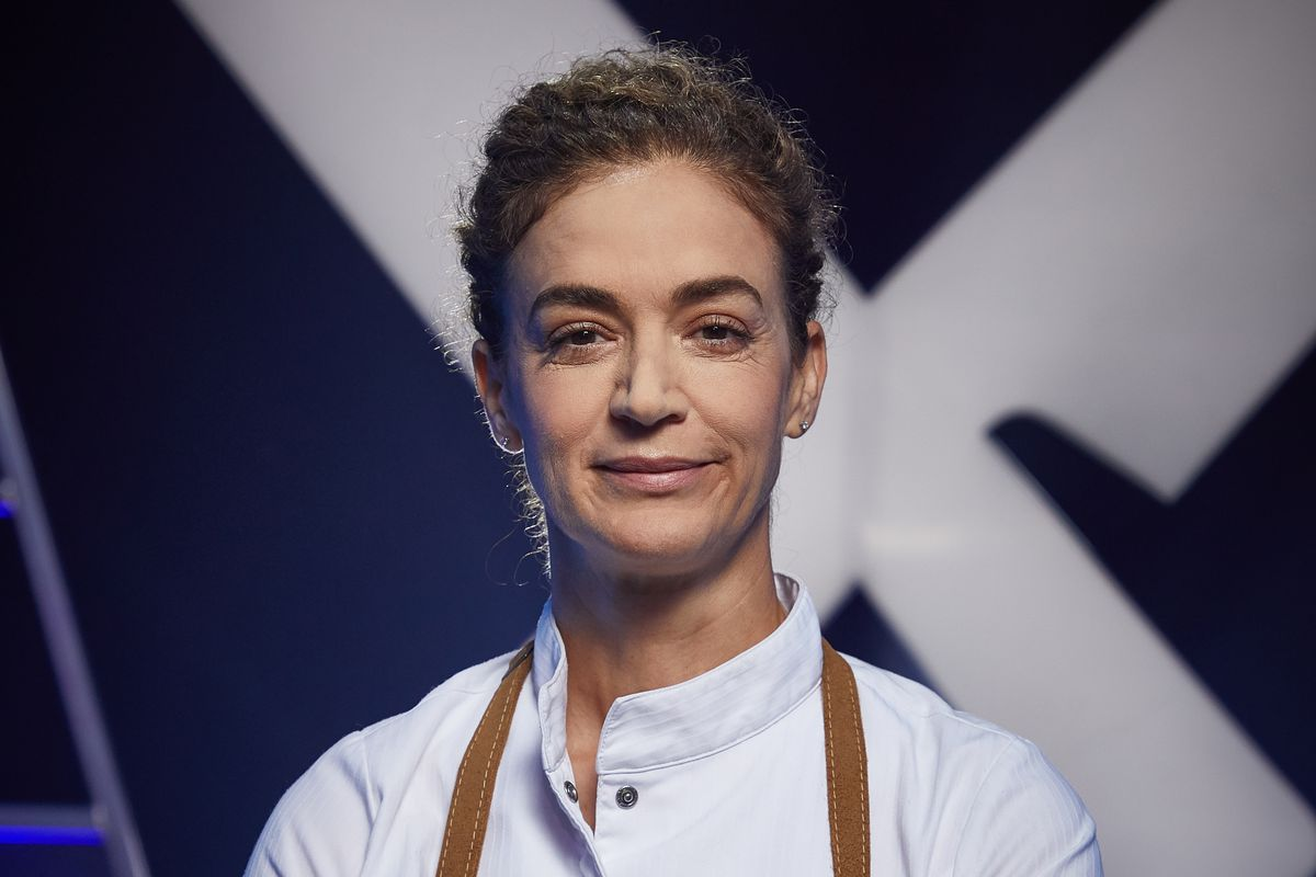 Chef Fisun Ercan on the set of Iron Chef Canada.