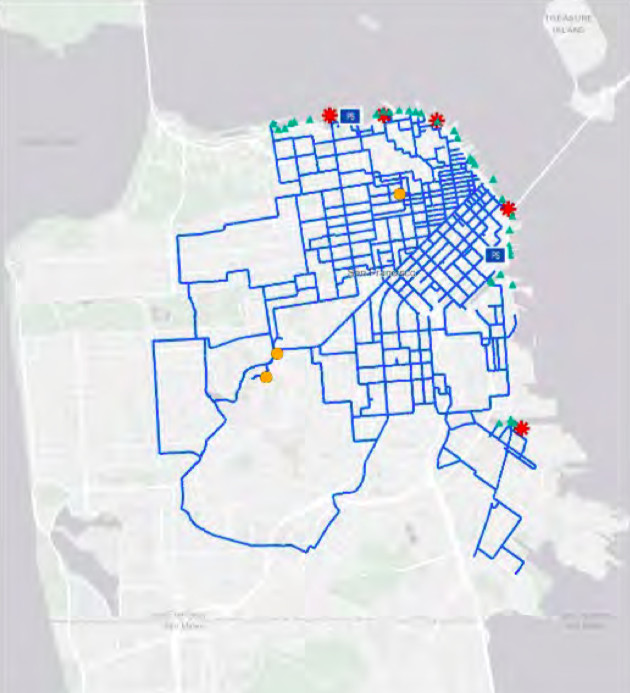 A map of San Francisco showing where quake-resistant auxiliary water mains are located. Most of them are clustered in northeastern neighborhoods.