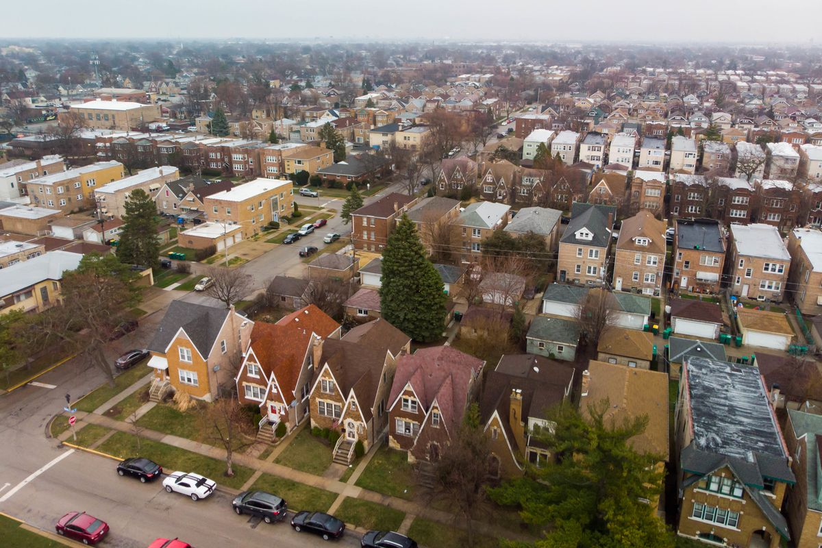 Aerial photo from suburban Berwyn looking towards cloud covered Chicago Friday March 27, 2020.