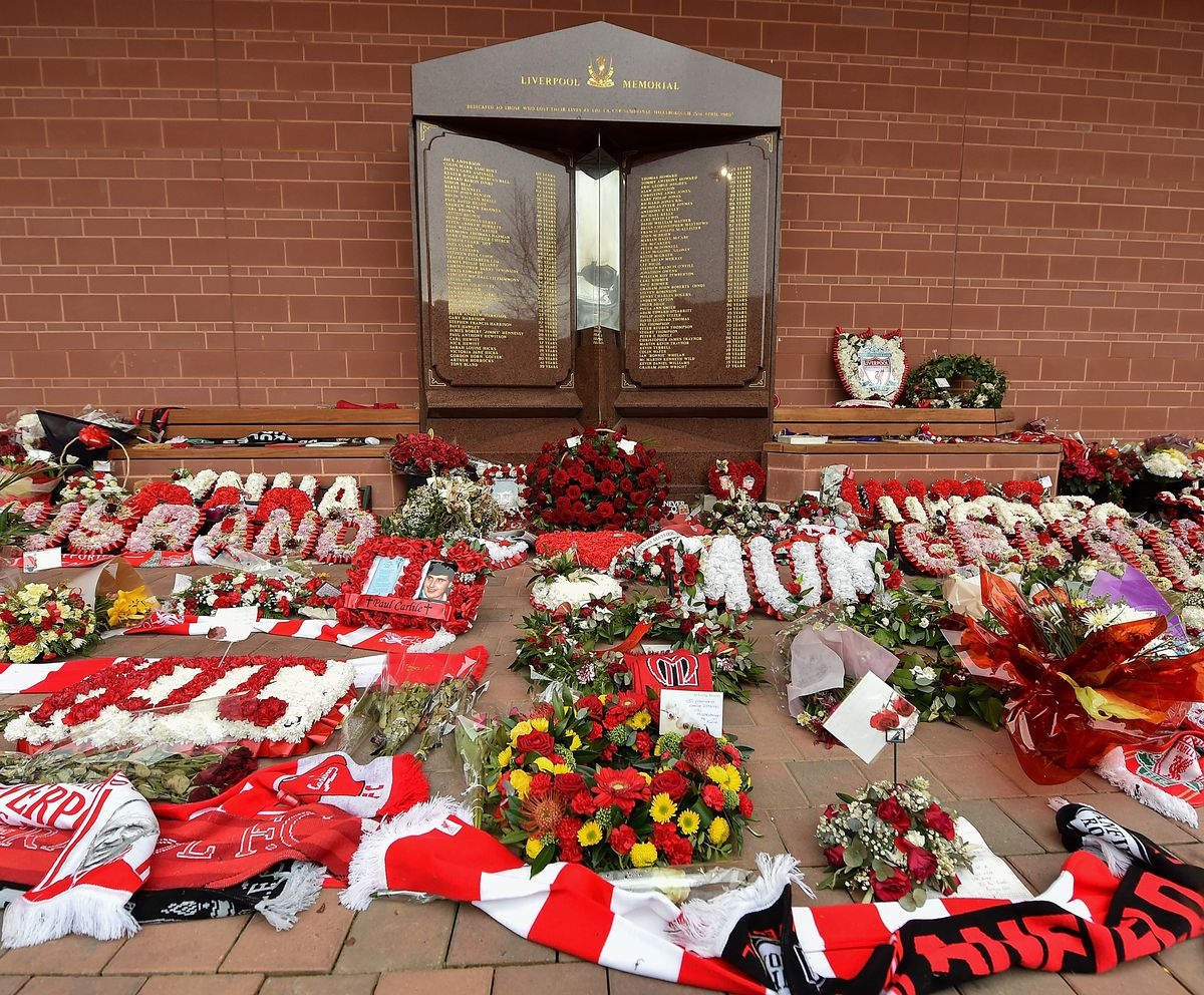 AS Roma Lay A Wreath At Hillsborough Memorial In Anfield
