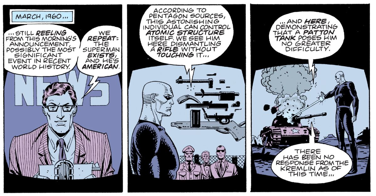 A March 1960 news report revealing a staged military recording of Doctor Manhattan's abilities. He dismantles a gun with his thoughts, and blasts the top off a tank with a ray from his hand, in Watchmen, DC Comics (1987).