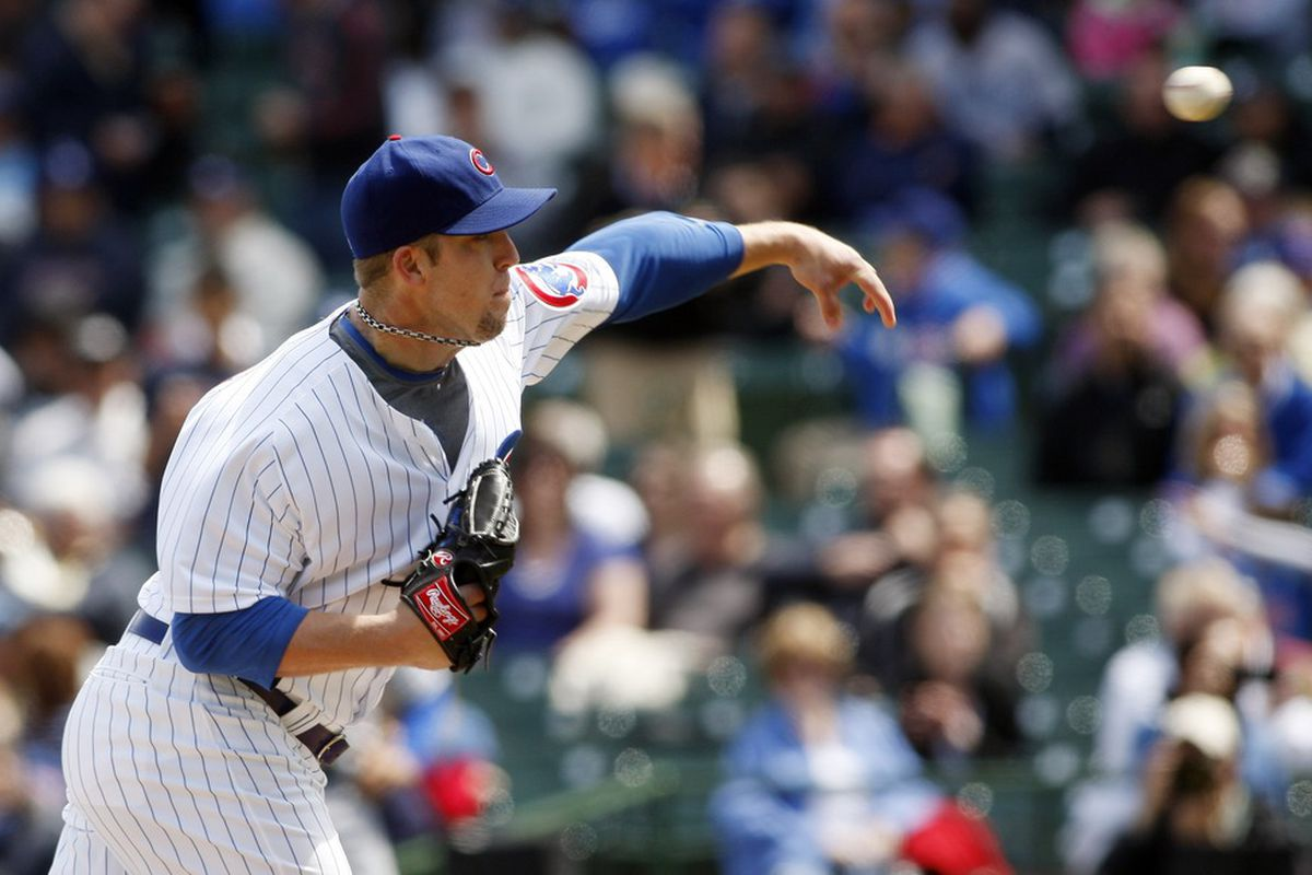 Chicago, IL, USA; Chicago Cubs starting pitcher Paul Maholm throws a pitch against the Los Angeles Dodgers at Wrigley Field. Credit: Jerry Lai-US PRESSWIRE