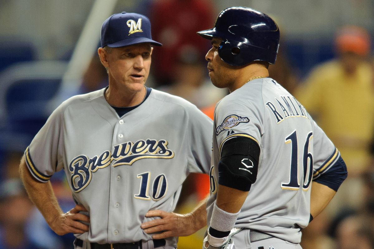 Ron Roenicke informs Aramis Ramirez that he's not a correct answer in this quiz either.