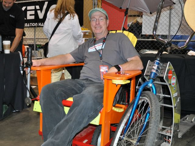 Rich Drull of Kansas City lounges in his motorized Adirondack chair.