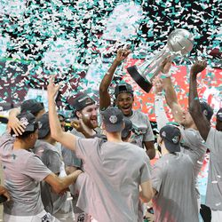 Gonzaga celebrates after defeating in the finals of the West Coast Conference tournament at the Orleans Arena in Las Vegas on Tuesday, March 9, 2021. Gonzaga won 88-78.