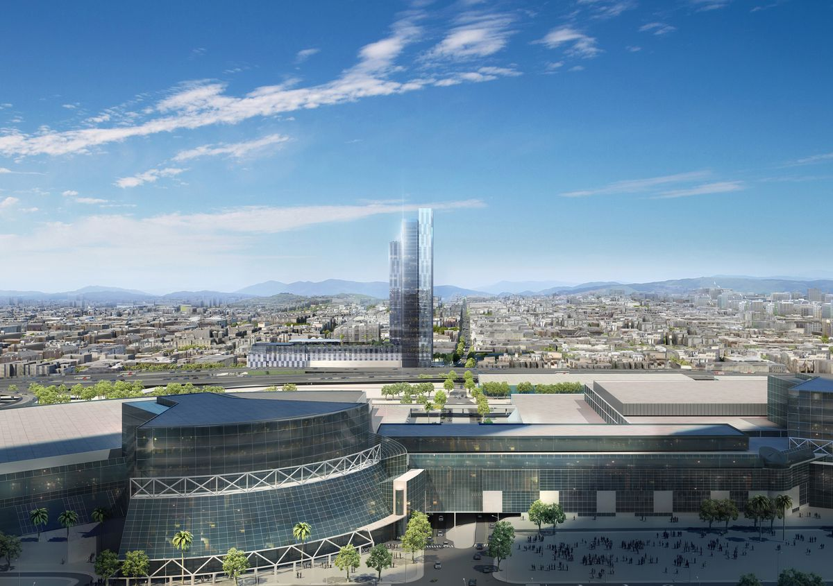 A rendering from the east looking west toward the 37-story hotel, which is in the background with the convention center in the foreground.