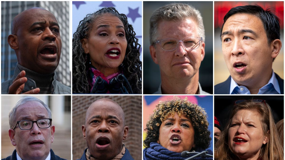 Mayoral candidates, clockwise from top left: Ray McGuire, Maya Wiley, Shaun Donovan, Andrew Yang, Kathryn Garcia, Dianne Morales, Eric Adams and Scott Stringer.