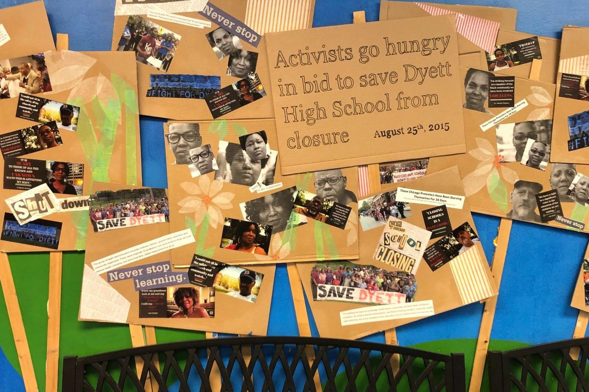 A mural at Chicagos Dyett High School commemorates the hunger strike that helped keep the school open.