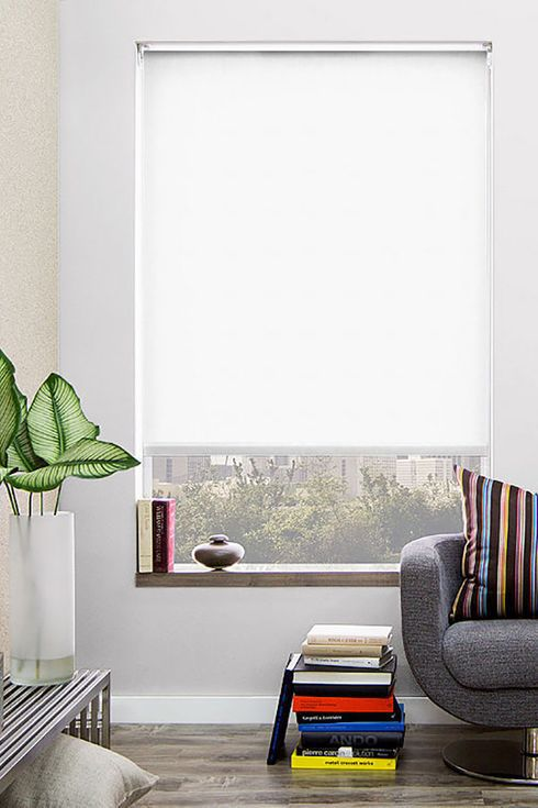 Large window with white shade.