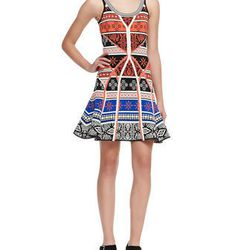 """Cocktail look or the amazing technicolor dream dress? You decide. The A-line skirt means that you can actually nibble at a party, and the print shouldn't betray you if you spill your greyhound. $698 at <a href=""""http://www.neimanmarcus.com/Diane-von-Furste"""