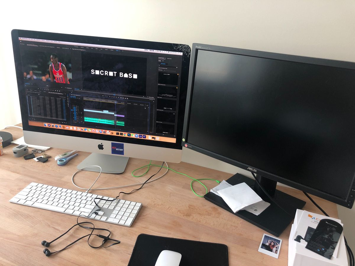 A dual monitor setup with one screen turned off