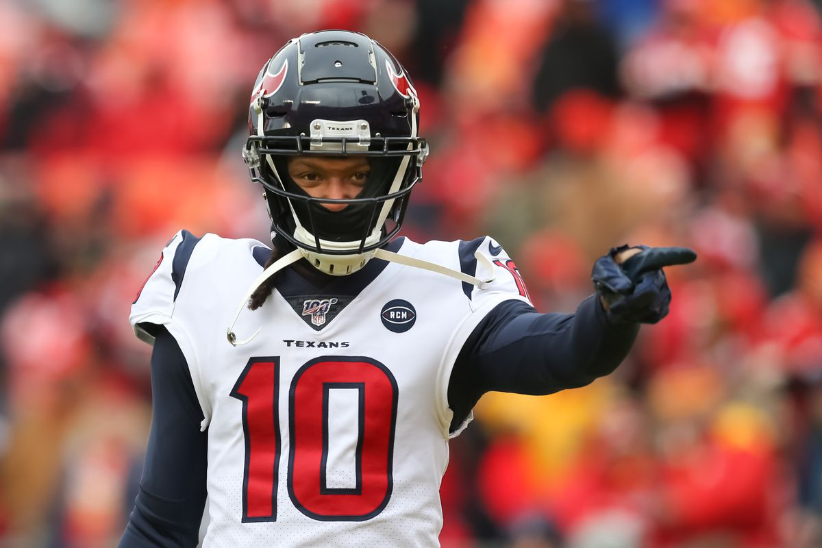 Houston Texans wide receiver DeAndre Hopkins points to teammates before an NFL Divisional round playoff game between the Houston Texans and Kansas City Chiefs on January 12, 2020 at Arrowhead Stadium in Kansas City, MO.