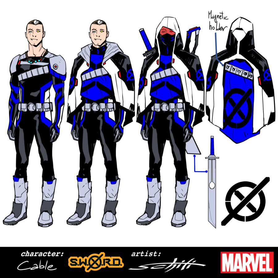 Character designs for Cable, featuring grey boots and shoulder armor, a black bodysuit with blue details, a black, white, and blue cowl, and, of course, a bigass sword, gun holster, and pouches.