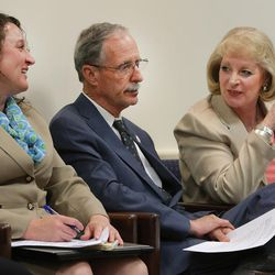 """FILE"""""""" Salt Lake County Recorder Gary Ott sits with Chief Deputy Recorder Julie Dole, left, and governmental affairs liaison Karmen Sanone in the county council meeting as members meet and vote on a new nepotism policy during their meeting in Salt Lake City Tuesday, April 26, 2016."""