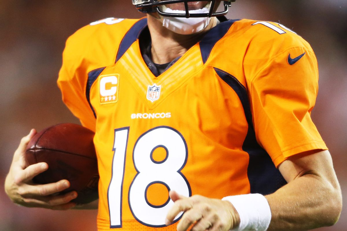 September 9, 2012; Denver, CO, USA; Denver Broncos quarterback Peyton Manning (18) during the first half against the Pittsburgh Steelers at Sports Authority Field at Mile High.  Mandatory Credit: Chris Humphreys-US PRESSWIRE