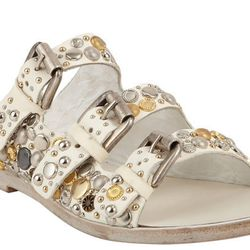 """<b>Collection Privee</b> Embellished Triple-Strap Sandal, <a href=""""http://www.barneys.com/on/demandware.store/Sites-BNY-Site/default/Product-Show?pid=503191258&cgid=womens-sandals-flats&index=35"""">$650</a>"""