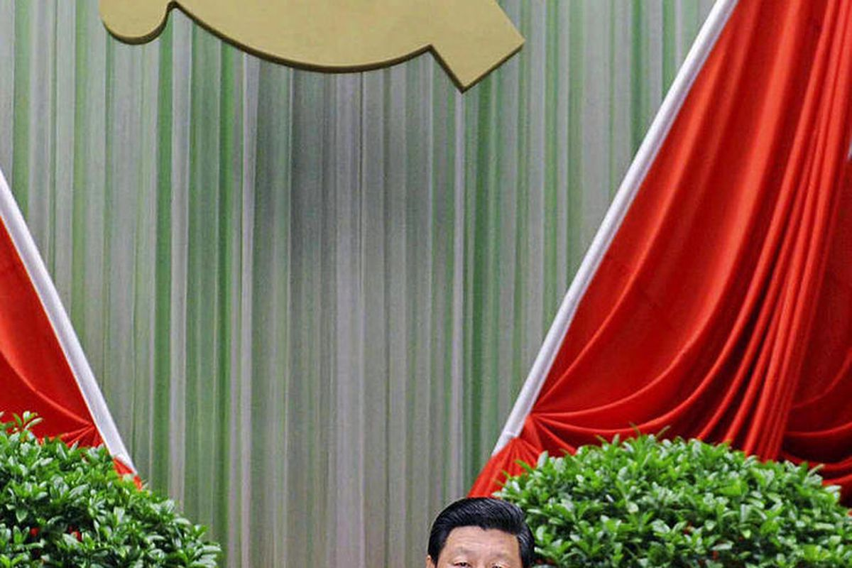 In this photo taken Sept. 1, 2012 and released by China's Xinhua News Agency, Chinese Vice President Xi Jinping addresses the opening ceremony of the autumn semester of the Party School of the Communist Party of China in Beijing. Chinese micro-bloggers an