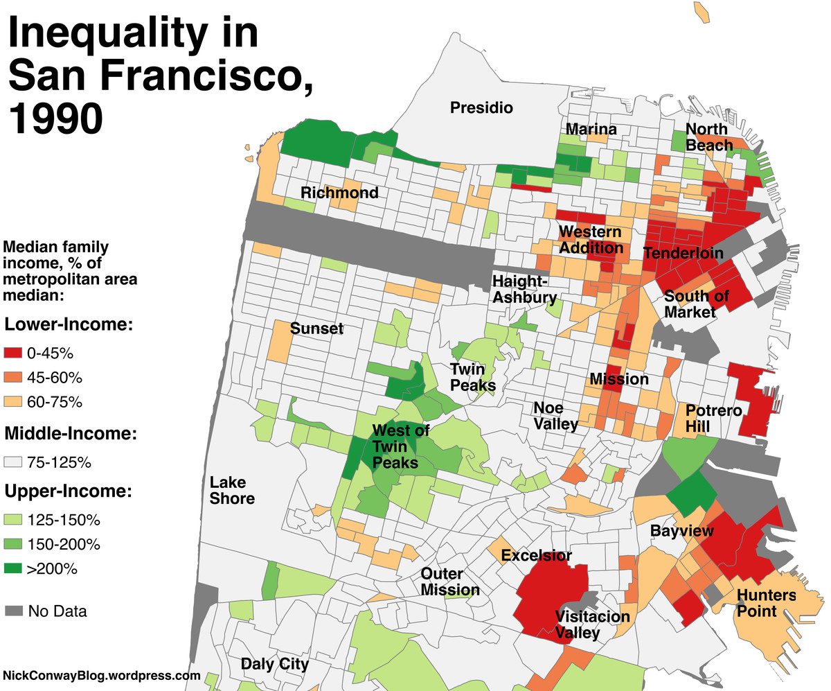 A map of which SF neighborhoods became richer since 1990 ... San Francisco Neighborhoods Map on oakland neighborhood map, north county san diego neighborhood map, la county neighborhood map, manhattan neighborhood map, los angeles neighborhood map, old san juan neighborhood map, santa rosa neighborhood map, napa neighborhood map, staten island neighborhood map, bay area neighborhood map, sfsu neighborhood map, glendale neighborhood map, greenville neighborhood map, sunnyvale neighborhood map, new york neighborhood map, california neighborhood map, oak park neighborhood map, washington dc neighborhood map, berkeley neighborhood map, chicago neighborhood map,