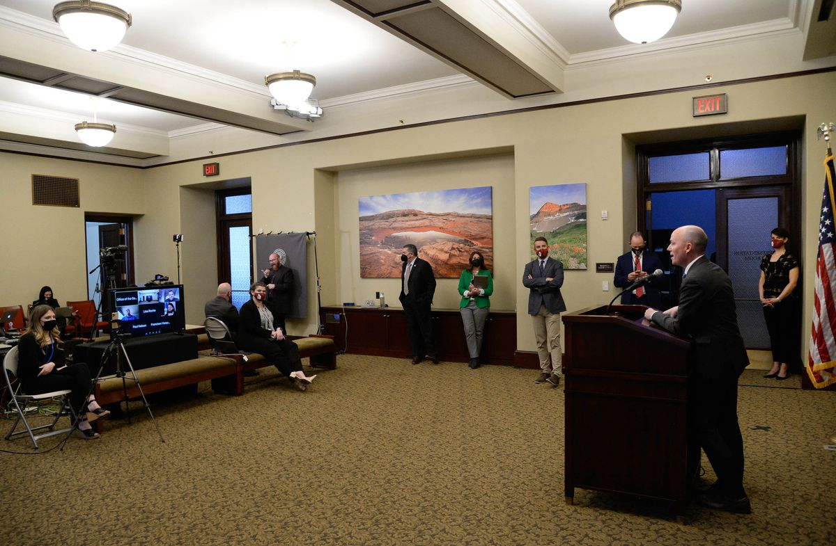Gov. Spencer Cox speaks at a COVD-19 briefing at the Capitol in Salt Lake City on Thursday, Feb. 25, 2021.