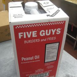 Five Guys uses 17 of these 35-pound jugs of peanut oil each week, totaling 595 pounds of peanut oil.
