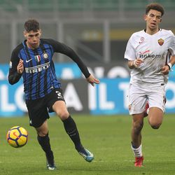 Federico Valietti (L) of FC Internazionale in action during the Primavera SuperCup match between FC Internazionale U19 and AS Roma U19 at Stadio Giuseppe Meazza on January 7, 2018 in Milan, Italy.