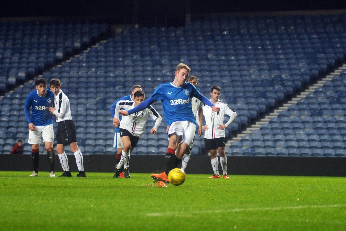 Zak Rudden in action for Rangers U20s against Falkirk in the Scottish FA Cup.