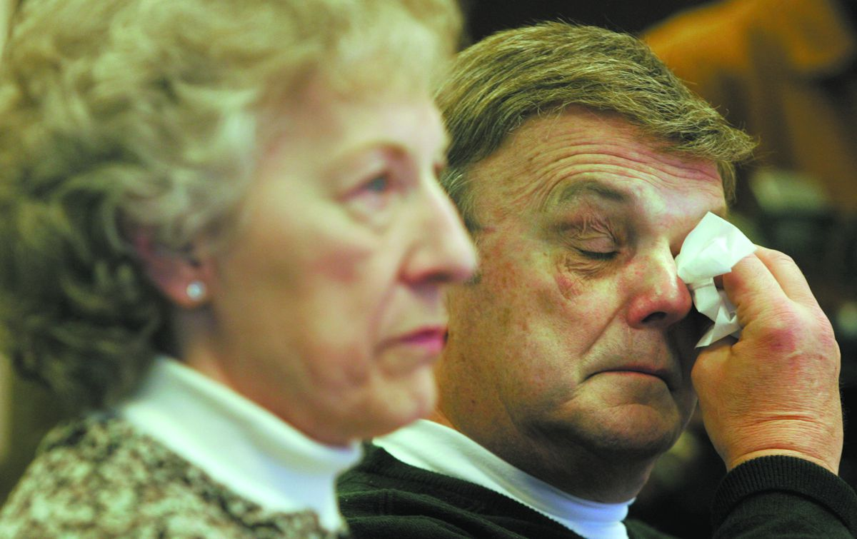 Barbara and Frank Bischof, the parents of murder victim Cindy Bischof, at a news conference in 2008.