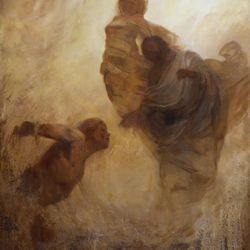 """Kirk Richards' oil on panel """"Breath of Life (From the Dust)"""" is featured in the BYU Museum of Art's """"The Interpretation Thereof: Contemporary LDS Art and Scripture"""" exhibition."""