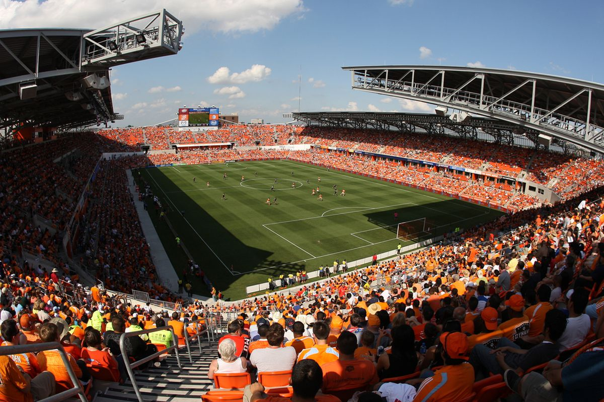 HOUSTON, TX - MAY 12:  Fans watch the Houston Dynamo play D.C. United during the first half of a MLS game at BBVA Compass Stadium on May 12, 2012 in Houston, Texas.  (Photo by Eric Christian Smith/Getty Images)